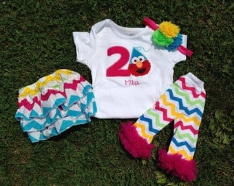 Pink and turquoise chevron Elmo birthday outfit -1st 2nd birthday elmo shirt custom personalized birthday shirt