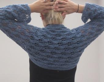 Hand knit woman's blue wool shrug bolero