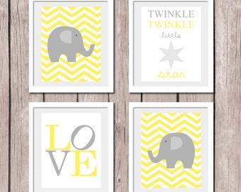 "INSTANT DOWNLOAD - YELLOW Set of 4 Prints Elephant Love Twinkle Little Star Printable Wall Art Print 8""x10"" (jpeg file) Kids Decor"