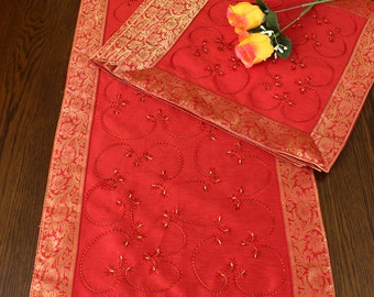 Hand Embroidered Night Table  5-Piece Placemat Set (Scarlet Red)