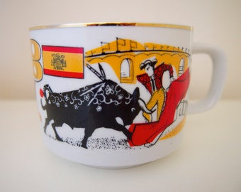 Spain India Arabia Mug Cup Flag Bull Fight Elephant Vintage from Tatung of Japan