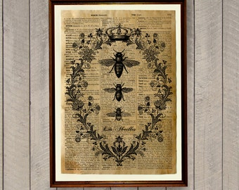 Farmhouse decor Bee print Insects print Animal poster Dictionary page WA63