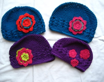 Blue or purple crocheted hats--Infant size 0-6 months--Ready to ship!!!