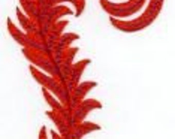 Bright FEATHER RED & PURPLE applique, Iron On Red Feather Large Red Feather 2 5/8 X 4 7/8 Iron or Sew On Patch by Cedar Creek Patch Shop