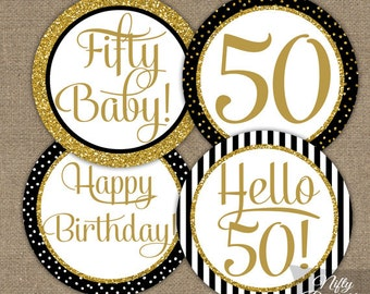 Black & Gold Glitter 50th Birthday Cupcake Toppers - Fiftieth Party Printables - DIY 50th Bday Favor Tags or Fifty Stickers - BGL