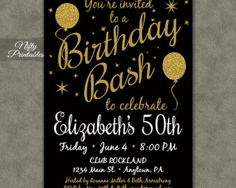 Surprise party invitations printable black gold surprise 50th birthday invitation printable 50 black gold glitter balloon birthday invitations fifty or any stopboris Image collections