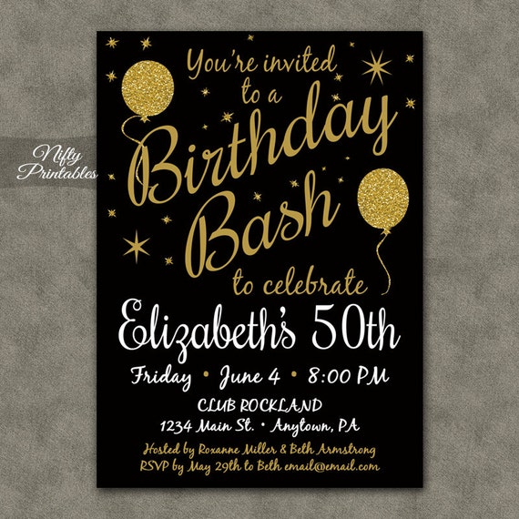 50th birthday invitation printable 50 black gold glitter, Birthday invitations