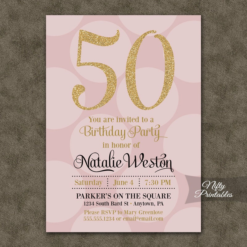 Th Birthday Invitations Pink Gold Fiftieth Birthday - Birthday invitation gold coast