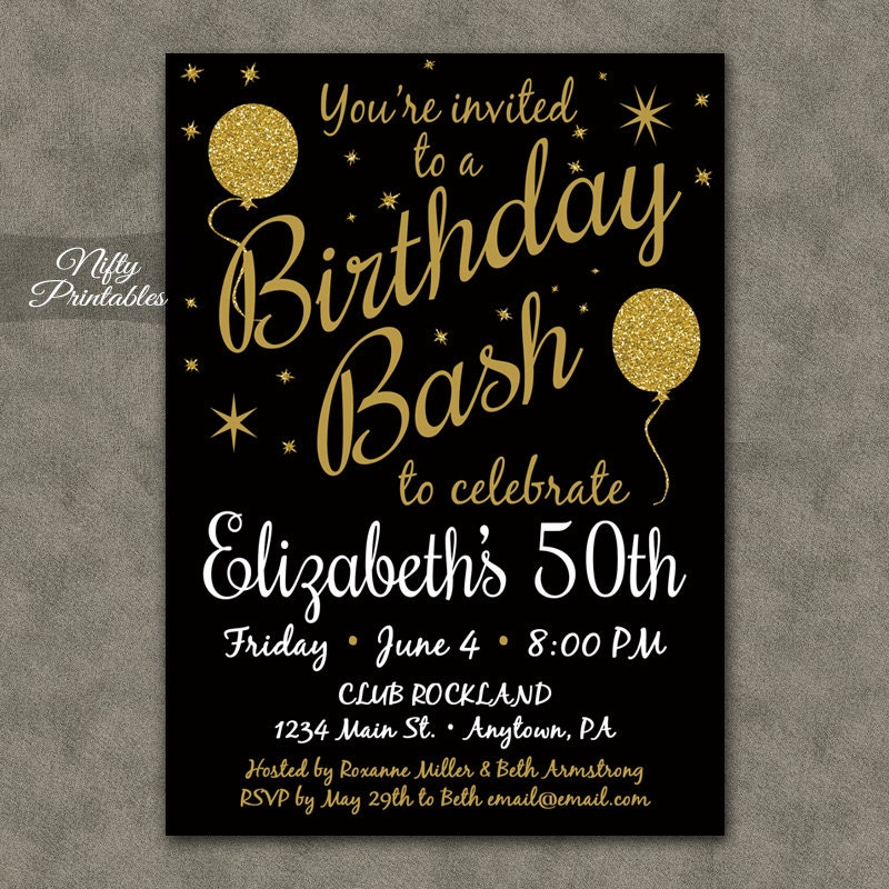 50th birthday invitation printable 50 black gold glitter, Birthday invitations