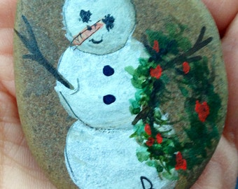 Handpainted Snowman Pin,Real Pebble, Unique, Sweet, signed