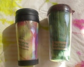 Coffee tumbler with hand dyed fabric