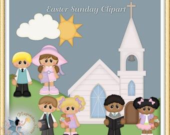 Easter Sunday Clipart, Church, Friends, Digital Scrapbooking