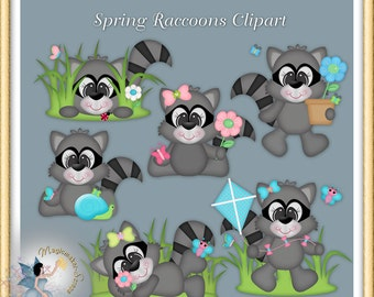 Spring Raccoons Clipart