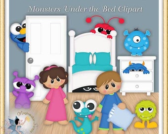 Monsters Under the Bed Birthday Party Clipart
