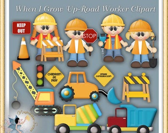 Road Worker Clipart, Construction, Truck, When I Grow Up
