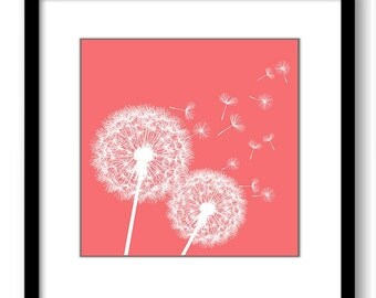 INSTANT DOWNLOAD Pink Coral White Dandelion Printable Art Print Wall Decor Bathroom Bedroom Custom Modern Miminimalist Flower Nursery