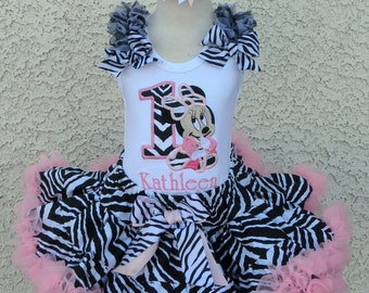 Zebra Baby Minnie Mouse Birthday Number Pettiskirt -Personalized Birthday Pettiskirt,Sizes 6m - 14/16