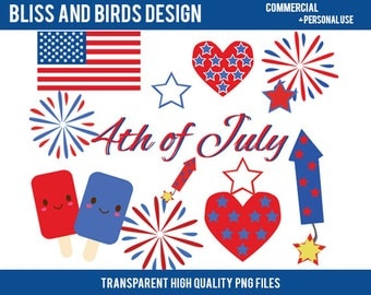 INSTANT DOWNLOAD Fourth of July Patriotic Clipart For Commerical Use, Personal Use, Party Invitations