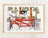 Your CUSTOM couple portrait (bike) - Unique! - Original Print + Digital File - Unique and Personalized gift for Birthday, Wedding, Christmas