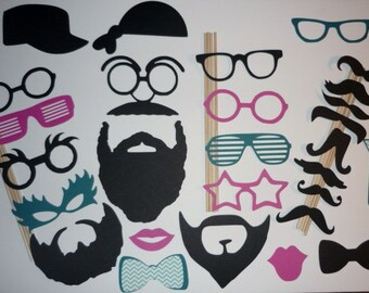 Photo Booth Prop Set Mustaches, beards, glasses, lips and hats 28 pieces (2073DC)