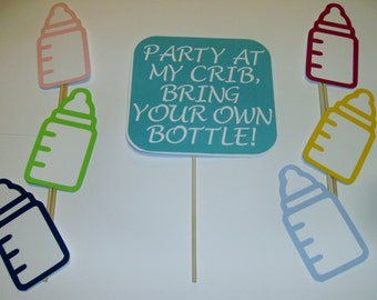 DIY-Photo Booth Props Baby Shower Party Baby Bottle Gender Reveal (2096D)