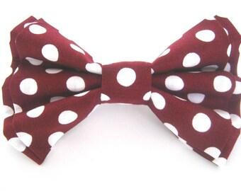 Dog Collar Bow Tie Removable Burgundy Polka Dot Bowtie Dog Bow Tie Wedding dog bow tie