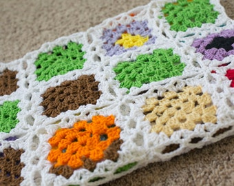 Crochet Blanket/Scrap Yarn Granny Square Afghan/Photography Prop/Colorful/Retro