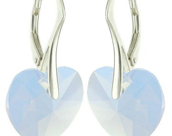 925 Sterling Silver Faceted Heart Swarovski Crystal Leverback Earrings