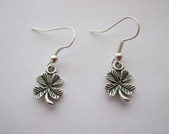 Irish Four Leaf Clover Drop Earrings for St Patrick's Day, Silver Plated Ear Wire Hooks Irish Jewellery Gift