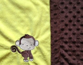 Monkey Baby and Toddler Blanket - brown and yellow
