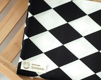 Cotton Fabric Big Black & White Diamond By The Yard
