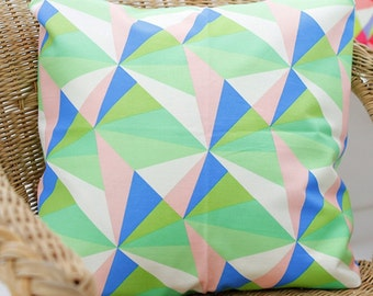 Oxford Cotton Fabric Geometric Triangle Green By The Yard