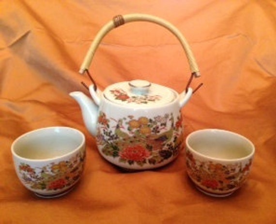 NEW PRICE Japanese Tea Set Hand Painted Peacock And Floral