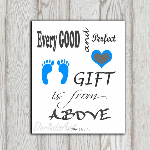 christian scripture james 1 17 bible verse baby boy decor print every