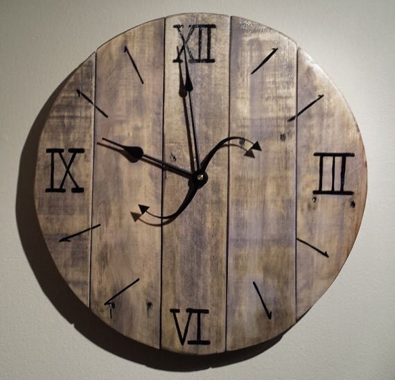 Distressed Pallet Wood Wall Clock Purple by ThisOldPallet ...