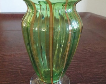 """Light Green Vase with Yellow Designs - 7.5"""" tall, Elegant Decor, Flower, Marbles, Glass, Vintage Glass, Gift for her, Gift under 20"""