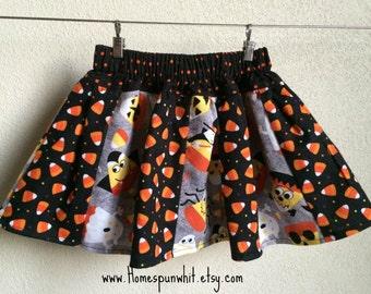 Infant Girls Halloween Skirt, Girls Skirt, Candy Corn Skirt, Girls Elastic Waist Skirt,0-3 Months, 6-9 Months, 12-18 Months, 2T Girls