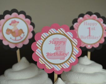 Cowgirl Theme Happy Birthday Cupcake Toppers - Western Theme Party - Pink Cowgirl - Set of 12