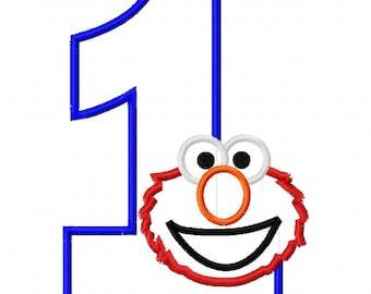 Red Monster Birthday One First Applique Design Applique Machine Embroidery Design elmo