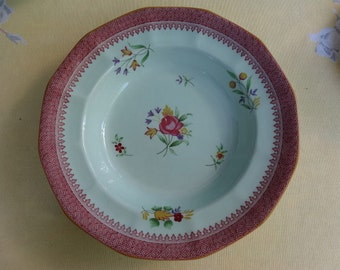 Set of 6 Lowestoft pattern Adams Calyx Ware Soup Bowls in shades of aqua, rose and sunflower. England.
