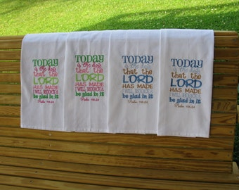 Kitchen or hand towel with scripture embroidery.