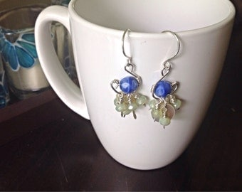 handmade sterling silver dangle earring with blue and sage