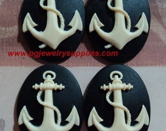 25mm x 18mm oval resin anchor cameos ivory cream on black 4 pieces lot l