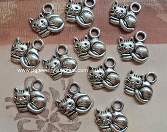 Pewter cats sitting 13mm x 15mm 12 pieces