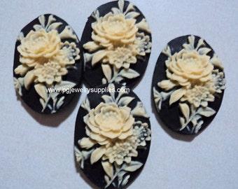 25mm x 18mm floral flower bouquet cabochons cameos ivory on black 4 pcs lot l