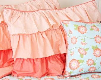 Coral Peach Ruffle Pillow Sham