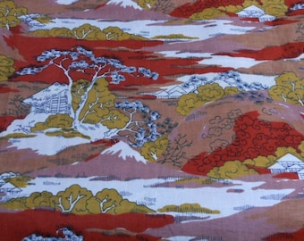 Vintage cotton fabric rust mustard brown printed organic cotton in japanese style landscape
