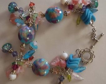 Artisan - Bracelet B078 Lampwork Glass Beads, Swarovski Crystals & Sterling Silver