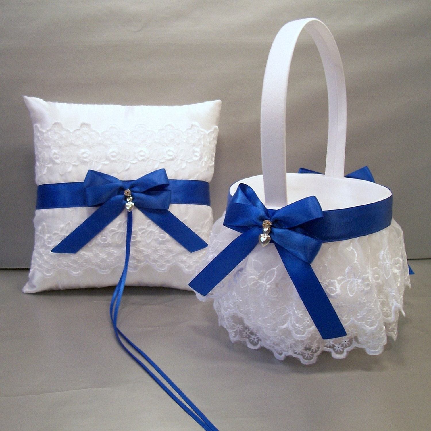 Royal Blue Wedding Bridal Flower Girl Basket And By