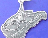 WEST VIRGINIA Charm, STATE Of West Virginia Charm .925 Sterling Silver